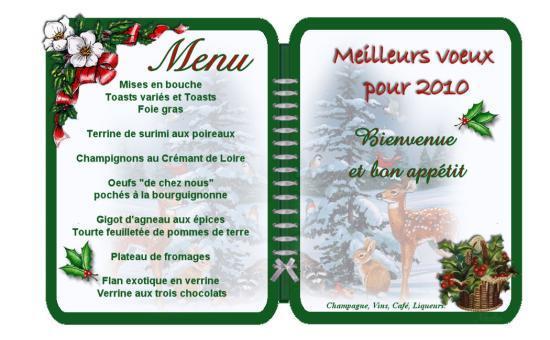 Carte menu de noel gratuit