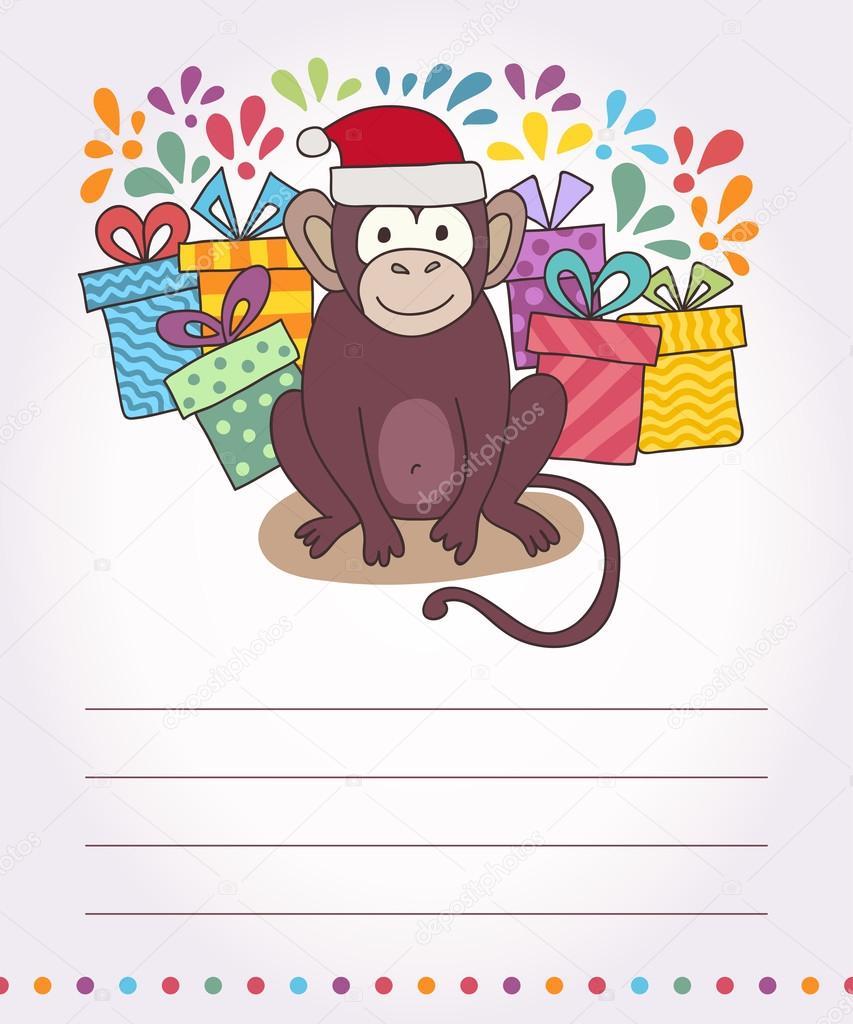Carte bonne annee du singe