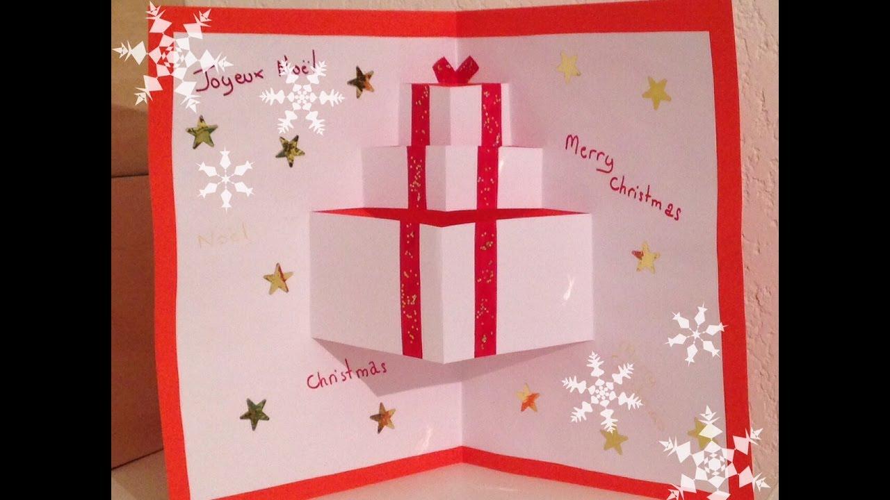 Carte pop up cadeau noel
